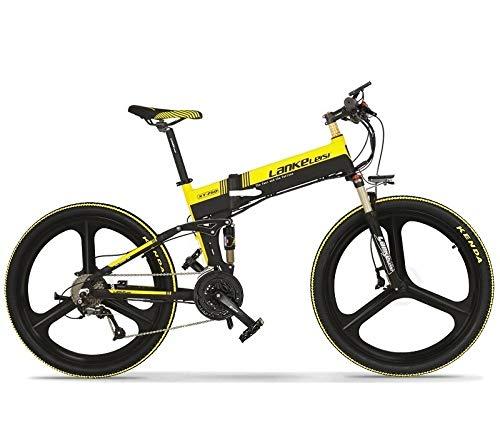 LQRYJDZ 26' Folding Hidden Battery Bicycle Lithium 48V 400W with Eletric E Smart Mountain Foldable Anti-Slip Bikes Electric Bike (Color : Yellow)