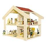 Rülke Holzspielzeug 23181 Puppenhaus, holzfarben, rot