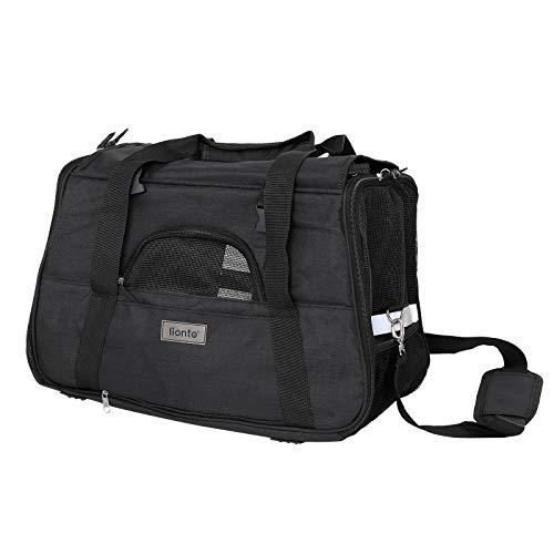 lionto Faltbare Hundetasche Hundebox Reisetasche für Haustiere Hundetransportbox Flugzeugtasche für Hunde Schwarz