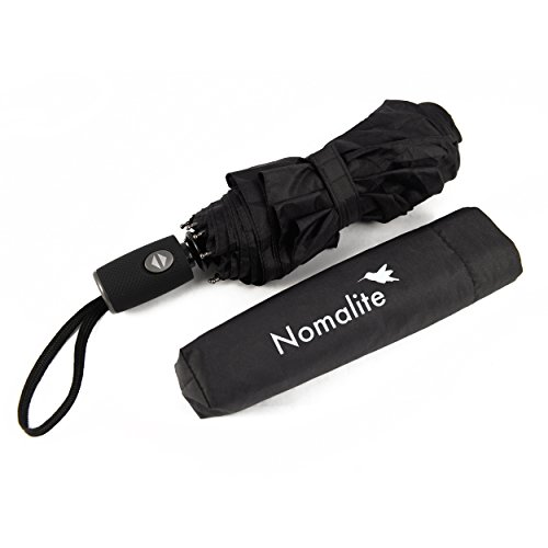 Sturmsicherer Regenschirm von Nomalite | Klein & leicht automatik Taschenschirm/Sturmschirm für Herren, Damen & Kinder. Schwarz, kompact. Windsicher & Wasserabweisende Teflon-Beschichtung (95 cm)