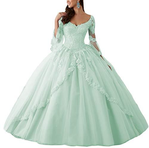 Ballkleider Lang Spitze Brautkleider Langarm Quinceanera Kleider Prinzessin V-Ausschnitt Hochzeitskleider Mint 46