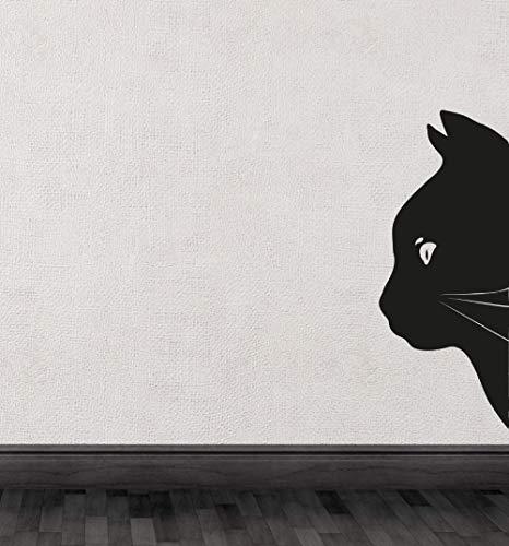Tianpengyuanshuai Half silhouet van de kop van de zwarte kat muurtattoos ruimtekunst unieke decoratieve vinylmuurstickers dierserie
