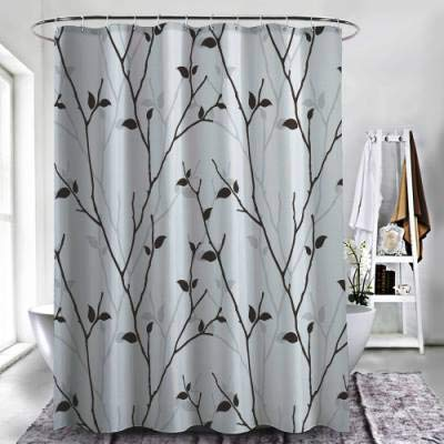 "ZXAWT Brand Waterproof Bathroom Shower Curtains in The Fall Trees Stem Twig with Last Few Leaves Minimalistic Design Art(108"" W x 72"" H)"