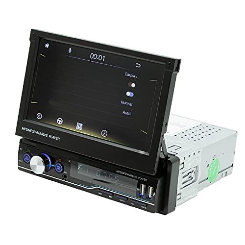 Mothcattl T100C Autoradio da 7 Pollici Bluetooth, Lettore MP5 per Auto Retrattile Chiamata HD Connessione Automatica del Telefono Cellulare Immagine inversa Lettore Radio Dvd Black
