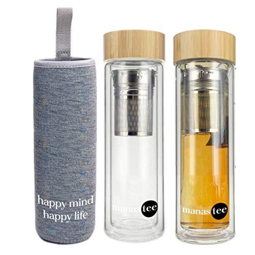 TeeFee Teeflasche aus Glas mit Edelstahl Sieb - 380ml Tee Flasche Teekanne Teamaker to go - Trinkflasche doppelwandig aus Glas mit Filz-Hülle in Grau