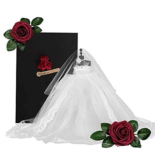 Romántico Mini vestido de novia modelo, vestido de novia de encaje con cuerda brillante, velo, collar, rosa artificial…