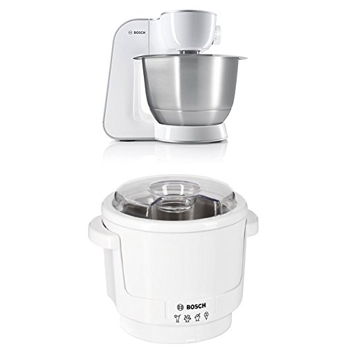 Bosch MUM54270DE Küchenmaschine (900 W, 3,9 l, edelstahlrührschüssel, Würfelschneider) weiß/silber + MUZ5EB2 Eisbereiter Küchenmaschinenzubehör
