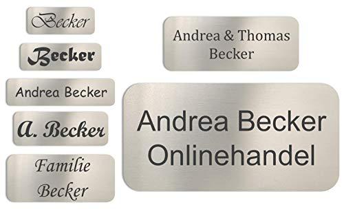 Edelstahlschild mit Gravur - Türschild, Klingelschild, Namensschild, Briefkastenschild - verschiedenen Größen mit Wunschgravur (50 x 20 x 1,5mm)