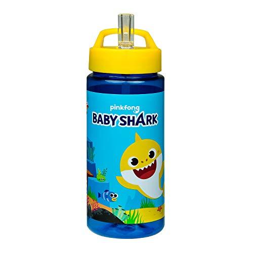 Scooli BSAR9913 - Aero Trinkflasche aus Kunststoff, Baby Shark, mit integriertem Strohhalm und Trinkstutzen, BPA und Phthalat frei, ca. 500 ml Fassungsvermögen