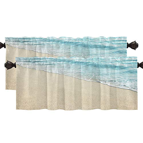 Shrahala Wave Blue Ocean Beach Kitchen Valances Half Window Curtain, Coastal Seaside Heat Insulated Kitchen Valance for Window Ink Printing Kitchen Valances Curtains for Kitchen Decoration 52x18 inch
