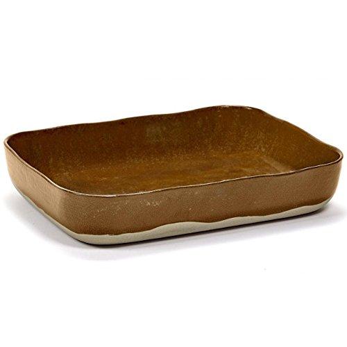 MERCI N°10 Plat à four Ocre & brun - L 30.1 cm