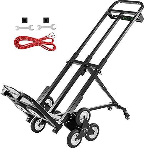 VEVOR Carro para Subir Escaleras Plegable 460 lbs (209 kg), Carretilla Mano 6 Ruedas de Goma para Escaleras, Carretilla Portátil para Escalerascon Mango de 1145-730 mm para Compras Almacenamiento