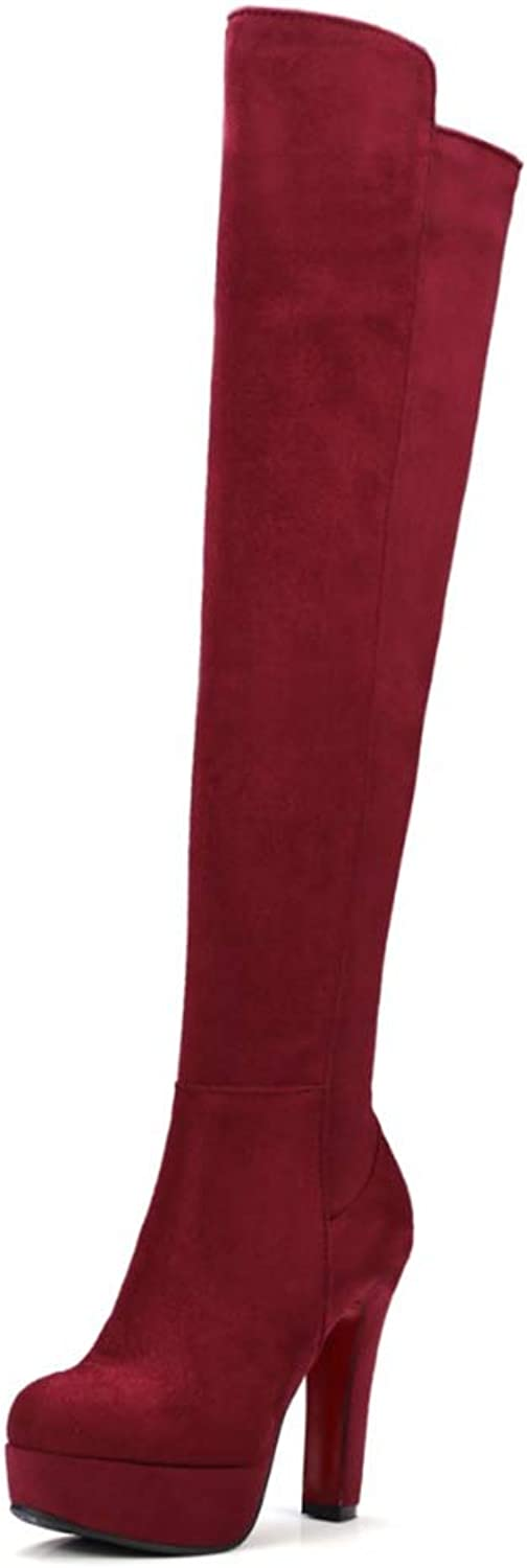 Hoxekle Women Over The Knee Boots High Square Heel Zippers Round Toe Slip On Female Sexy Cool Winter Long shoes