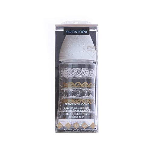 Suavinex - Biberón bebé Premium Haute Couture. Tetina redonda silicona 3 posiciones, 270ml. Biberón +0 meses. 0% BPA. diseño Étnico color blanco