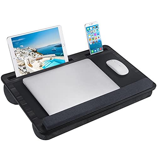 NEARPOW Laptopunterlage Laptop Kissen mit Mausunterlage und Handgelenkauflage inkl. Tablet- und Telefonhalte für max. 17 Zoll Notebook schwarz