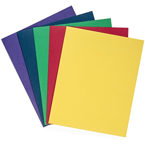 Blue Summit Supplies 50 Two Pocket Folders with Prongs, Designed for Office and Classroom Use, Assorted 5 Colors, 50 Pack Colored 2 Pocket 3 Prong Folders