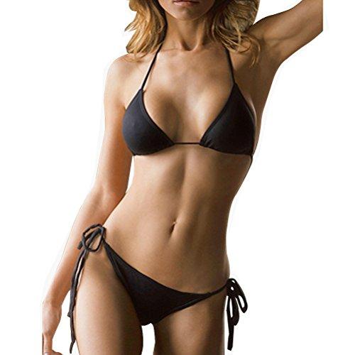 SHERRYLO 10 Solid Color Women's Thong Bikini Set String Bademode for S-XL Body (Black)