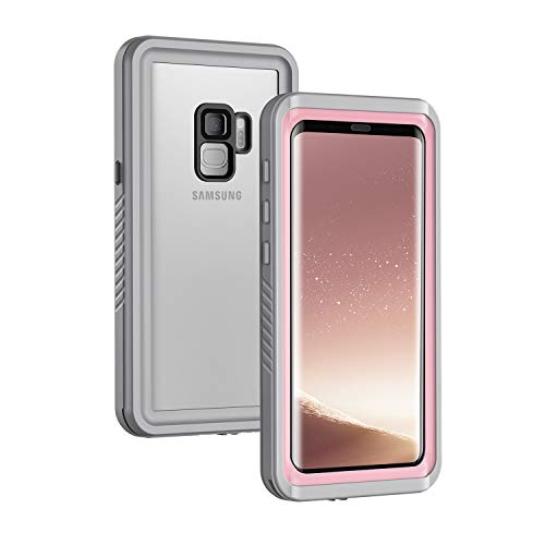 Lanhiem für Samsung Galaxy S9 Hülle, [IP68 Zertifiziert Wasserdicht] 360 Grad Handyhülle, Stoßfest Staubdicht und Schneefest Outdoor Schutzhülle mit Eingebautem Displayschutz, Rosa