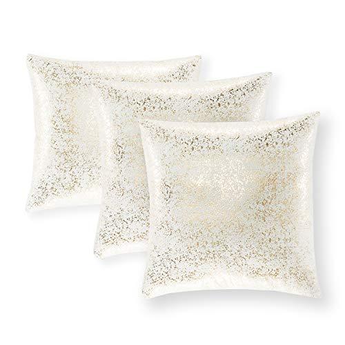 Xinrjojo - Juego de 3 fundas de almohada decorativas brillantes de ante, suaves, cuadradas, fundas de cojín de color sólido, fundas de almohada para sofá, dormitorio, coche, 45 x 45 cm, color bronce y blanco