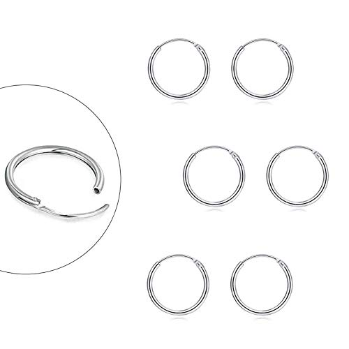 Sterling Silver Hoop Earrings for Women Men Girls, Hypoallergenic Cartilage Earring Endless Small Hoop Earrings Set, 3 Pairs of 925 Sterling Silver Tragus Earrings Nose Lip Rings (8mmx3)