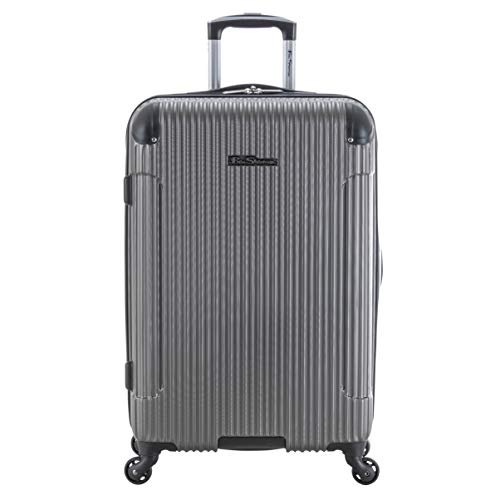Ben Sherman Charlton Bay Collection Lightweight Hardside 4-Wheel Spinner Travel Luggage, Silver, 24-Inch Checked
