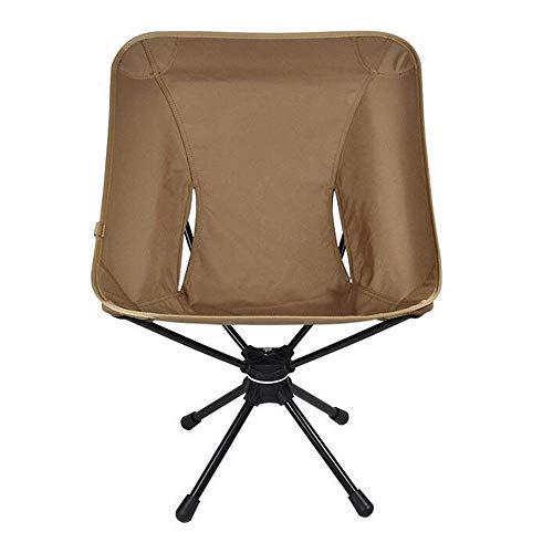 ch-AIR Chaise De Camping Pliante, Chaise Longue De Pêche Portable en Alliage D'aluminium, Chaise D'extérieur Pivotante À 360 Degrés (Color : Khaki)