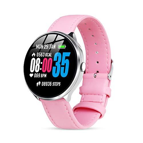 Smartwatch mit Pulsmesser Damen Herren, GOKOO Bluetooth Sportuhr Fitnessuhr Intelligente Armbanduhr mit Schrittzähler Pulsmesser Schlafmonitor für Android IOS (rosa)