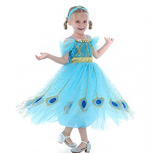 LANGWEI Disfraces De Halloween para Niñas Lindo Vestido De Gasa De Princesa Accesorios para Disfraces De Cosplay,Azul,M