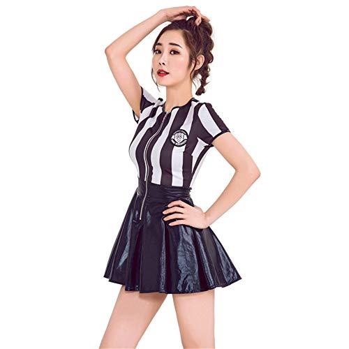 QZ Árbitro Disfraz de Halloween para Mujer Sexy Deportivo Ref Ump Falda Outfit,M