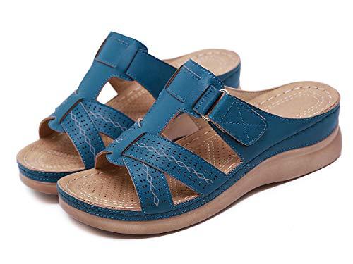 Sandalias con Plataforma para Mujer Mules Cuero Cómodos Zapatillas de Playa Verano Sandalias de Cuña 36-44EU