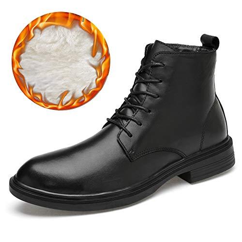 Liangcha-0401 Botas de Tobillo de Moda para Hombres Casual Cowhide Cowhide High Top Boots sin complicaciones (Ardent Velvet Opcional) (Color : Warm Black, Size : 47 EU)
