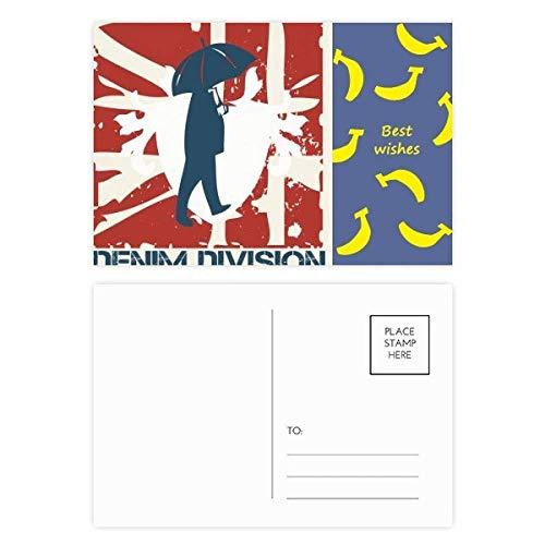 DIYthinker Rood Blauw Man Paraplu Patroon Graffiti Straat Banaan Postkaart Set Thanks Card Mailing Zijkant 20 stks 5.7 inch x 3.8 inch Multi kleuren