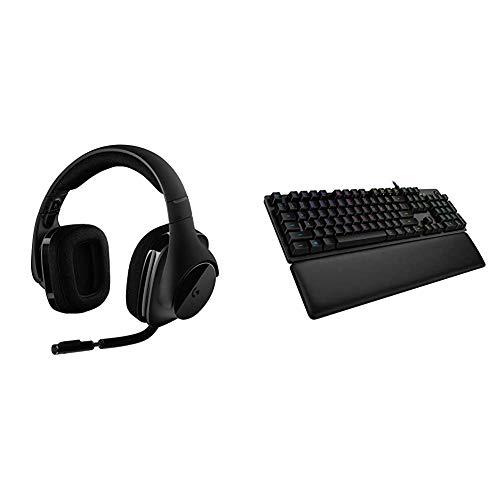 Logitech G533 kabelloses Gaming-Headset, 7.1 Surround Sound, DTS Headphone:X, 40mm Treiber + Logitech G513 mechanische Gaming-Tastatur, GX-Brown Taktile Switches, RGB-Beleuchtung