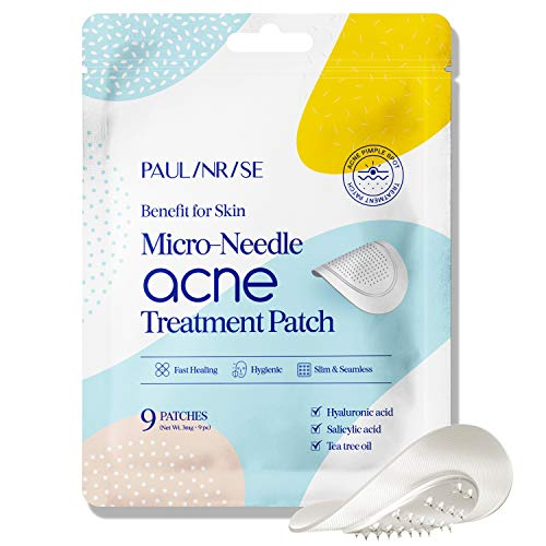 Paulinrise Acne Patches – 9Pcs Pimple Patches with Hyaluronic Acid and Tea Tree Oil – Acne Scar Treatment for Face – Microneedle Acne Treatment Patch – Acne and Pimple Reducer – Absorbs Secretion