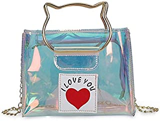 Gimax Shoulder Bags - Women Transparent Handbag PVC Laser Holographic Jelly Mini Tote Clear Shoulder Bag Light Messenger Bags Beach Travel Sac SS7146 - (Color: Laser)