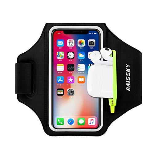 Sportarmband Mit Airpods Tasche Sportarmband Handytasche Sport für iPhone 11/11 Pro/XR/XS/X/8 Plus/7 Plus/8/7/6s/6,Huawei P20 Pro / P30 Pro/Mate 20 Xiaomi,LG Handyhülle Running Armband (Schwarz)