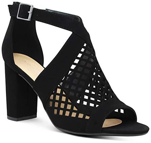 Buenos Aires Womens Open Toe Crisscross Strap Laser Cut Chunky High Heels Sandals - (Black NB) - 5.5