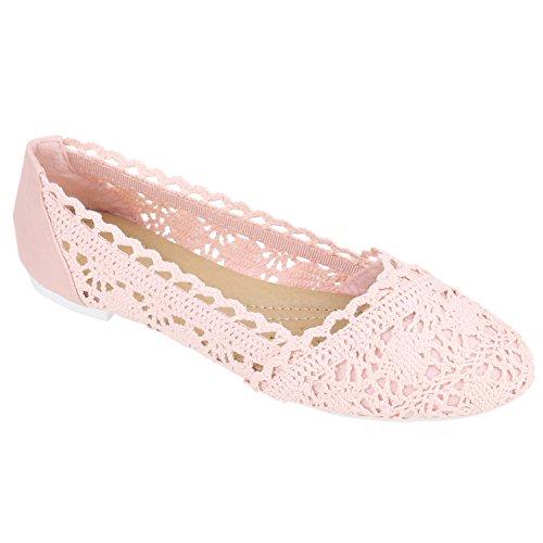 stiefelparadies Ballerinas Spitze Häkeloptik Damen Ballerina Flats Slippers Glitzer Boho Freizeit Sommer Schuhe 136109 Rosa Rosa Weiss 39 Flandell