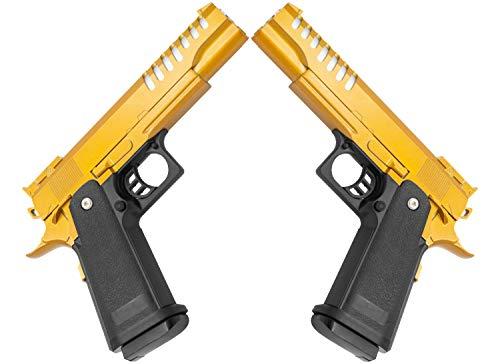 Softair Gun Airsoft Pistole + Munition | Cadofe V17-Gold. Profi Vollmetall | 22cm. Inkl. Magazin & unter 0,5 Joule (ab 14 Jahre)