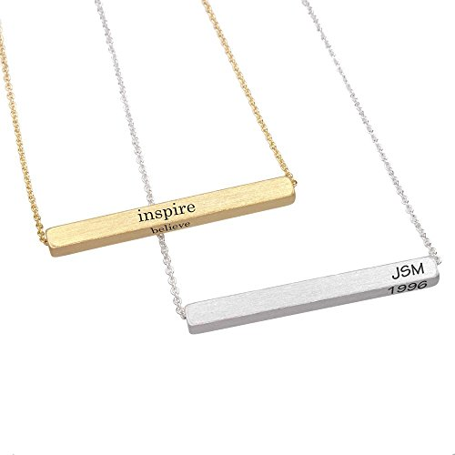 Horizontal bar Personalized Engraved Customized Monogram 3-D 4 sided Name Initial Alphabet Bar Brass Necklace, BN742
