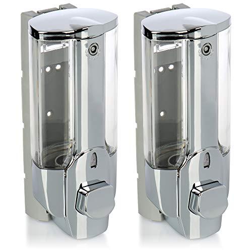 com-four® 2X Seifenspender zur Wandbefestigung - Wand-Seifenspender nachfüllbar - Seifendosierer für Duschgel und Shampoo (chromfarben)