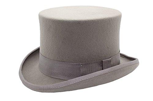 Viz-uk wear Chapeau haut-de-forme traditionnel pour homme 100 % feutre de laine Gris clair - Gris - petit