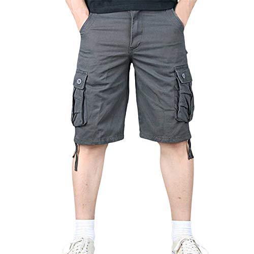Aiserkly Herren Sommer Multi-Pocket Overalls Shorts Cargo Kurze Slim Fit Arbeitshose mit Bundfalte Freizeithose Hose