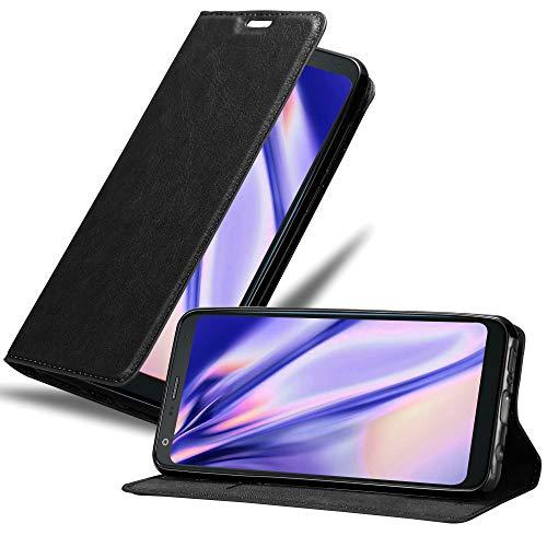 Cadorabo Hülle für LG Q7+ (Plus-Version) - Hülle in Nacht SCHWARZ – Handyhülle mit Magnetverschluss, Standfunktion & Kartenfach - Hülle Cover Schutzhülle Etui Tasche Book Klapp Style
