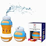 Kids Sports Water Bottle Collapsible Ball Shaped Drinking Cup Leak Proof School Lunch Mug Shockproof Squeezable Basketball Soccer Baseball Tennis Football Champion Team Gift Idea Travel Jug