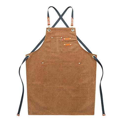 bibididi Delantal De Algodón De Chef De Lona con Espalda Cruzada Ajustable Delantal con Bolsillos Mujeres - Rojo marrón