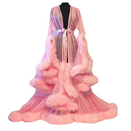 HYWL Damen Sexy Mesh Morgenmantel Bademantel, Damen Sexy Nachtzeug Langer Rock Spitze Mesh Babydoll Durchsichtig Perspektive Feder Erotik Robe Unterwäsche,1 pink