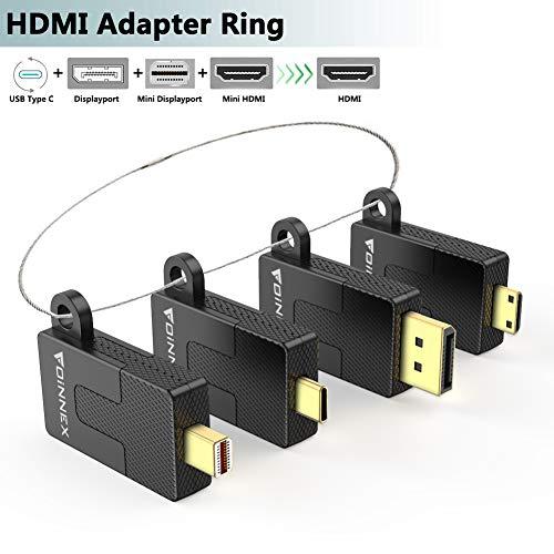 FOINNEX - Adaptador HDMI universal con adaptador USB C/DP/Mini DP/Mini HDMI a HDMI con bucle seguro