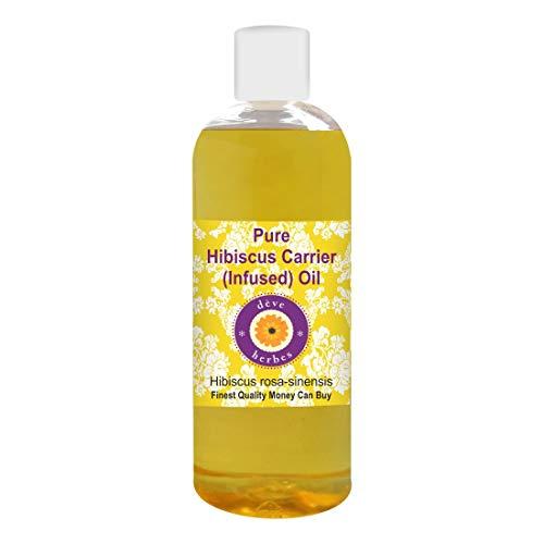 Huile d'hibiscus pure Deve Herbes (Hibiscus rosa-sinensis) Huile 100% naturelle infusée de qualité thérapeutique 200 ml (6.76 oz)