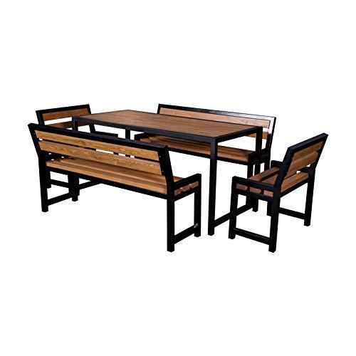 DM Grill Gartengarnitur, Tisch + 2 Lange Bänke + 2 kleine Bänke, Braun, Metall & Naturholz, Gartenmöbel Set